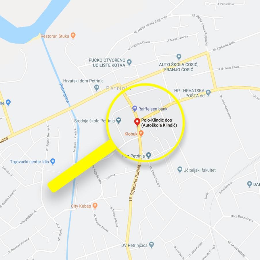 Petrinja lokacija karta